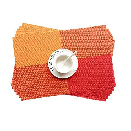 Addfun®Tischsets,Waschbar Gitter bunt Farbe Tabelle Mats Rutschfest Isolierung PVC Mats für Esstisch(Rot, 6er Set) (Bunt Esstisch-set)