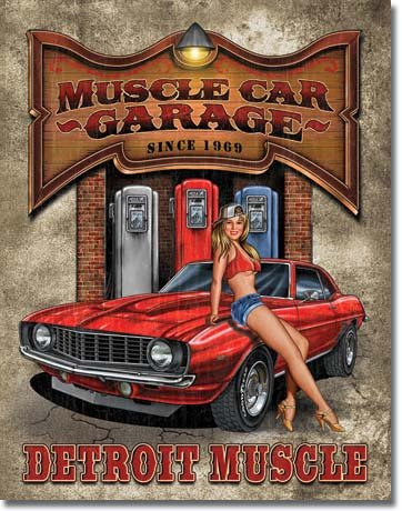 Desperate Enterprises Pin Up Girl Muscle Car Garage Blechschild 32x41 cm Made in USA Super Retro Nostalgie Schild - Car Enterprise