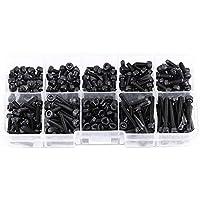 280Pcs / Box Grado de color negro 12.9 M3 Cabezal Hexagonal Tornillo Tuerca Tornillo Tuerca métrica Surtido de kits de surtido, 4/5/6/8/10/12/16/20 / 25mm de longitud