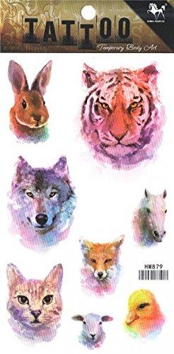 Grashine lange letzte temporäre Tattoos Verschiedene Tierköpfe aussehen wie echte temporäre Tätowierung Aufkleber mit Kaninchen, Wolf, Tiger, Katze, Pferd, Vogel, etc. (Ein Vogel In Der Hand)