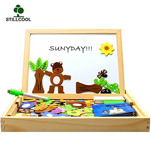 StillCool Holzpuzzle Magnetisches Spielzeug Holzpuzzle Kinderpuzzle Doodle Tafel aus Holz Holzspielzeug mit Bunt Tier Puzzle Holz Lernspiel für Kinder Kleinkind ab 3 Jahren (Magnet Beschäftigt)