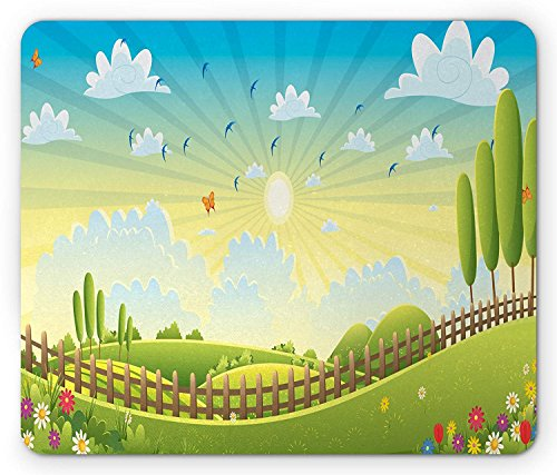 Country Mouse Pad, Tranquil Spring Farmland Scenery with Vast Green Fields and Trees Over The Hills, Standard Size Rectangle Non-Slip Rubber Mousepad, Multicolor 9.8 X 11.8 inch Combo Green Compact