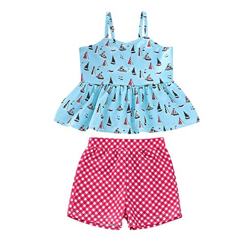 (12M -4Y) Kinder-Cartoon-Print Badeanzug, Split Sling Shirt + Plaid Shorts Badeanzug...
