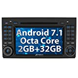 Pumpkin Android 7.1 8 Core 32GB 2GB Car Stereo Radio with Bluetooth for Mercedes Benz A B Series 1024*600 Double Din Head Unit with CD DVD Player Support Sat Nav Mirror Link DAB+ WIFI Subwoofer AV Out
