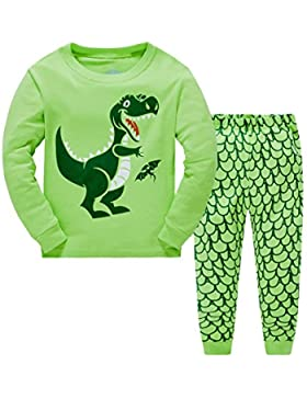 Pijamas largo los niños dos piezas de dinosaurios para de algodón 100% Tamaño 2-7 años