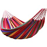 rrimin portable outdoor hammock hang bed travel camping swing canvas red stripe hammocks  buy hammocks online at best prices in india   amazon in  rh   amazon in