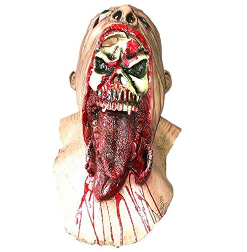 Zombie Kostüm Gesicht - FHD Halloween Zombie Masken Blutige Party Zombie Maske Schmelzende Gesicht Erwachsene Latex Kostüm Walking Dead Halloween Scary (L)