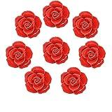 Fbshop (TM) 8pcs Rouge vintage Fleurs de rose Forme Boutons de porte en céramique/Pull/Poignée pour meuble de cuisine tiroir placard Coffre, commode, armoire vintage et bébé pour enfant pour enfant meubles Décor