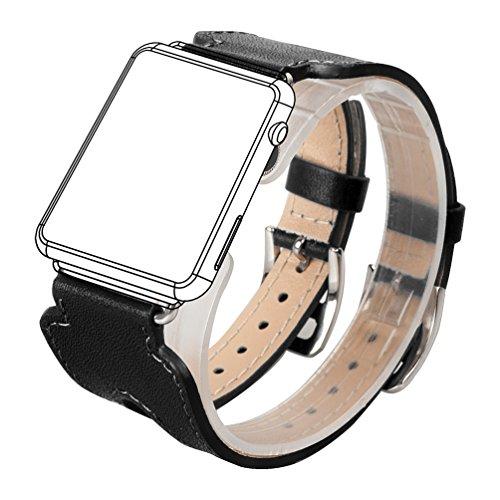 Wearlizer Cinturino di ricambio doppio in vera pelle con chiusure in metallo per Apple Watch (Serie 1 e Serie 2), 38mm Nero