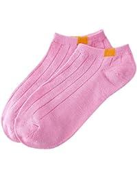 QinMM Calcetines cortos antideslizantes a rayas para hombre y mujer