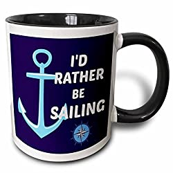3dRose Id Rather Be Sailing. Anchor, White and Blue Two Tone Black Mug, 11 oz, Black/White