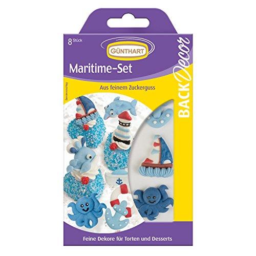 1 Günthart BackDecor Zuckerfiguren Set - Maritim | Nordsee | Leuchtturm | Anker | Schiff | Matrosenhut | Rettungsring | Hai | Wal
