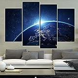 Leinwand HD Drucke Poster Wohnzimmer Wandkunst 4 Stücke Erde Aus dem Weltraum Gemälde Abstrakte Blauen Planeten Bilder Wohnkultur d-M