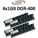 CSX mémoire :  4Go dual channel 2 x 1Go 184 broches dDR - 400 (400 mHz pC - 3200 cL3 nON eCC, sans tampon pour cartes mères dDR1 100 %  compatible avec 333 mHz pC 2700 et 266 mHz pC - 2100