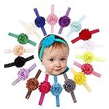 18PCS/Sets Bande de Cheveux de Bébé, Bandeau de Fleur élastique pour Bébé Fille, Bandeaux de Photographie (Circonférence de la tête: Plus de 36 cm, 18pcs/sets)...
