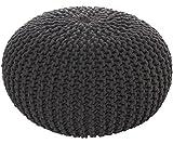 MAB Comodo pouf lavorato a maglia, sgabello, pouf per soggiorni moderni, 55 cm, cuscino da pavimento intrecciato a mano, con certificato Ökotex
