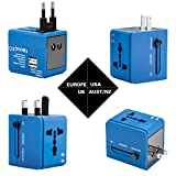 Adaptador de viaje, cargador de pared con doble puerto de carga USB y convertidor de enchufes universal Valido para USA, EU, UK, AUS, móviles y portátiles (Azul)