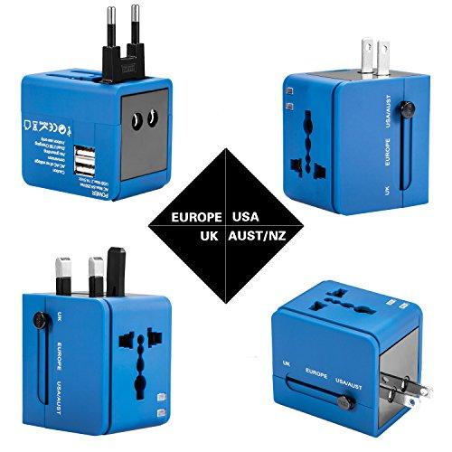 Foto de Adaptador de viaje, cargador de pared con doble puerto de carga USB y convertidor de enchufes universal. Valido para USA, EU, UK, AUS, móviles y portátiles (Azul)