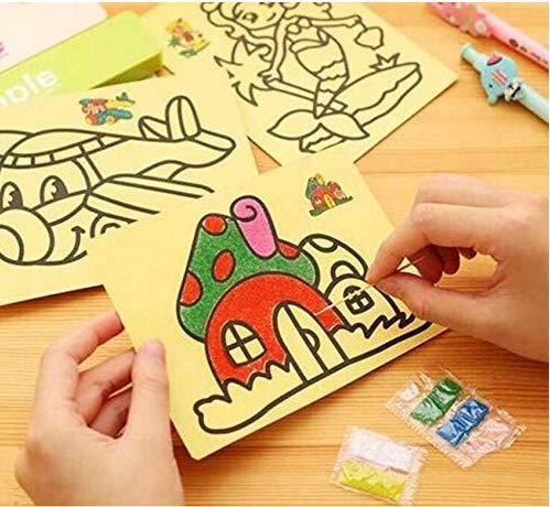 Gwill 10 Teile / los Kinder DIY Farbe Sand Malerei Kunst Kreative Zeichnung Spielzeug Sand Papier Kunsthandwerk Spielzeug für Kinder Stil Zufällig