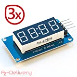 AZDelivery ⭐⭐⭐⭐⭐ 3 x 4 Bit Digital Tube LED Display Modul I2C mit Clock Display für Arduino und Raspberry Pi (3 Stück) mit Gratis eBook!