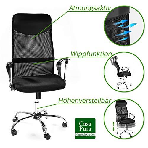 Design Bürostuhl mit Kopfstütze, Netzrücken, Wippfunktion & Armlehne – ergonomisch, höhenverstellbar – schwarz - 2