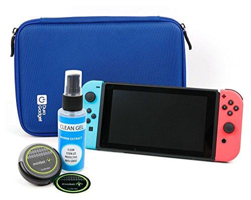 Preisvergleich Produktbild DuraGadget EVA Hartschalen Etui | Case - Blau + Reinigungsroboter | Cleaning Robot | Bildschirmreinigung - Schwarz - für Ihre Nintendo Switch Spielkonsole