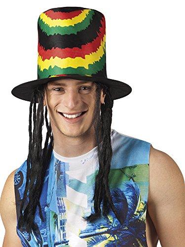 erdbeerclown - Rasta Hut Jamaika mit Haarteil Kostüm , (Kostüm Jamaika Kinder)