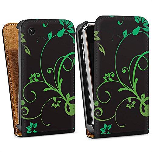 Apple iPhone 4 Housse Étui Silicone Coque Protection Guirlandes de fleurs Fleurs Fleurs Sac Downflip noir