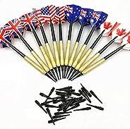 Soft Tip Darts Set,12 Pcs 14g Plastic Tipped Dart, Stainless Steel Metal Barrels, 36 pcs Black Dart Tips