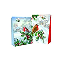Atlona - 12x Festive Bags - Traditional Robins - Medium, 23x18x10cm