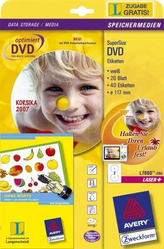 AVERY Zweckform L7860-20U DVD Sicherheitsetiketten 117 mm inkl. Langenscheidt Ohne Worte Spezialausgabe