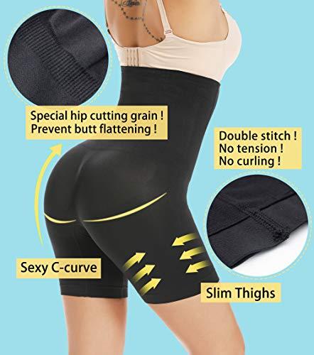 MISS MOLY Damen Figurenformend Miederpants Miederslip Bauch Weg Miederhose Hohe Taille Taillenformer Shapewear mit Bein 4X Stäbchen ShapePants Body Shaper - 4