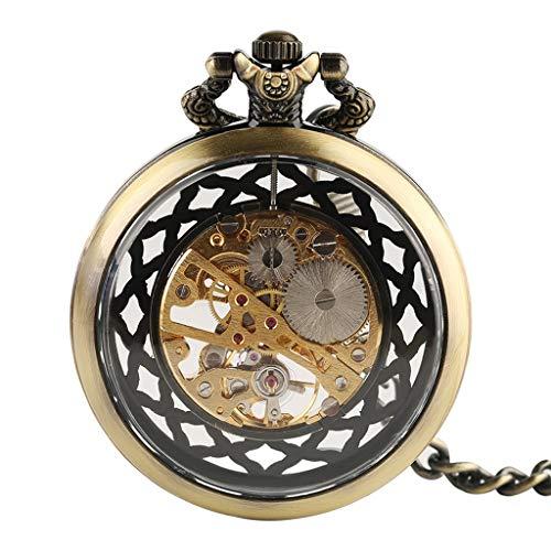 DYH&PW Taschenuhr Vintage transparente Hohle Design mechanische Taschenuhr Unisex antike Fob Anhänger Kette Taschenuhr Hand Wind Uhr Geschenk (Antike Uhren Hand)