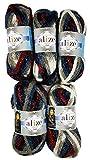 Country Lux 5 x 100g Wolle Alize Glitzerwolle, 500 Gramm Strickwolle Extra Dick mit Glitzer, Effektwolle (Schwarz Rot Grau Blau weiß)