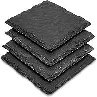 Navaris Pack de 4 posavasos de pizarra - Set de apoya vasos de esquisto 10 x 10CM - Portavasos de mesa y bar - Posavasos originales y decorativos
