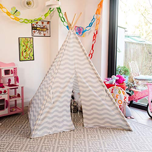 boppi® Teepee Großes Spielzelt für Draußen und Drinnen, tragbar, aus Holz und Zelttuch, Indianerwigwam für Kinder, Spielhaus für Jungs und Mädchen - Grau