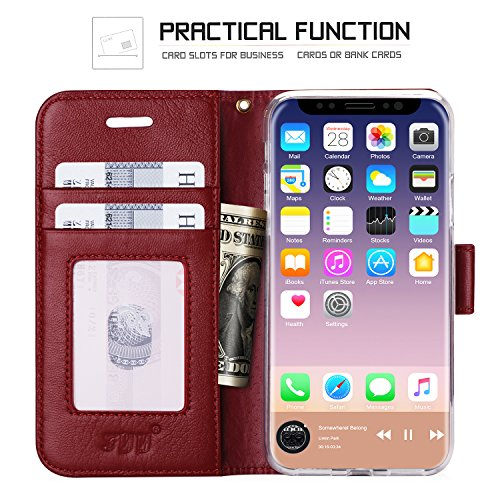 iPhone 8case, iPhone 8cover, Fyy Premium in vera pelle, 100% fatto a mano in foglio di [cavalletto funzione] con carta d identità e schermo per Apple iPhone 8 C-Pattern-27 A-Wine Red