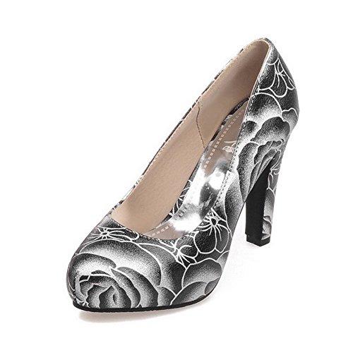 AgooLar Femme à Talon Haut Matière Souple Couleurs Mélangées Tire Rond Chaussures Légeres Noir