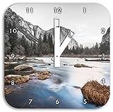 Yosemite National Park California B&W Detail, Wanduhr Durchmesser 28cm mit weißen eckigen Zeigern und Ziffernblatt, Dekoartikel, Designuhr, Aluverbund sehr schön für Wohnzimmer, Kinderzimmer, Arbeitszimmer