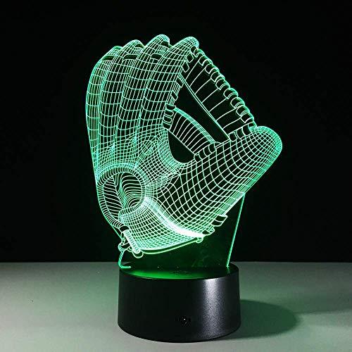 Gpzj Nachtlicht, Touch Farbe 3D LED Nachtlicht Stimmung Lampe Baseball Handschuh Schlafzimmer Beleuchtung Dekoration Fußball Handschuhe dekorative Nachtlicht grün