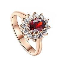 MSYOU Ring Elegant Rhinestone Red Zircon Ring Creative Ring Women Girls Jewellery Gifts for Birthdays Thanksgiving 18.9MM(Gold)