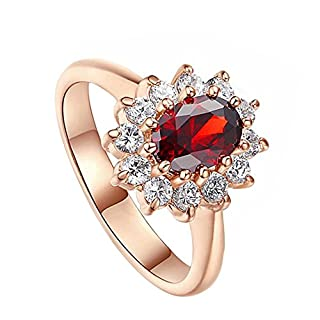 Aikesi Woman Rings Elegant Rings Beautiful Diamond Shape Ring Birthday Christmas Memorial Day Gift 1Pcs(Rose red)