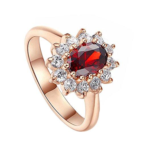 Demarkt Ringe Damen Blauer Stein Saphir Saphir Ring Silberring Lila-Blau Alexandrit Saphir Rubin Smaragd size US-Code 7 (Rot)