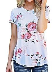 women T shirt, Transer ® Vêtements femme imprimé manches courtes fleur chemisier Tops
