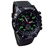 Sport orologio da polso, FEITONG quarzo orologio uomo militare orologi in silicone moda ore (verde)