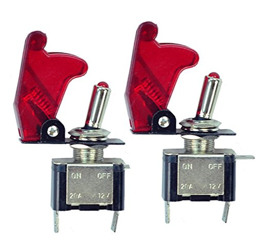 Kfz-schalter 12v (HOTSYSTEM 2x 12V 20A Auto KFZ Schalter SPST Wippschalter Ein/Ausschalter LED Anzeige Wechsel Switch Kippenschalter Rot)