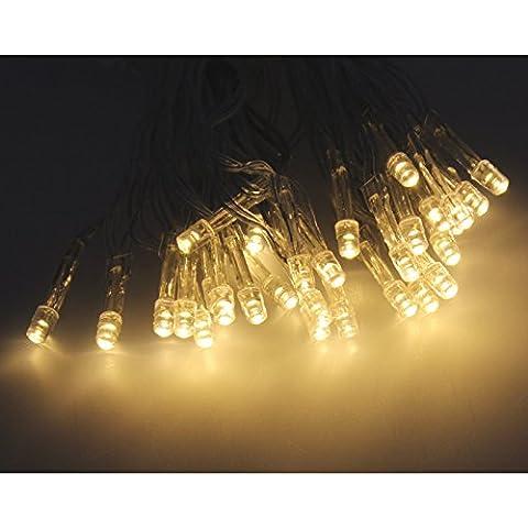 48er LED Lichterkette warmweiß warmweiß transparentes Kabel innen und außen