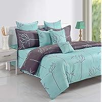 Swayam Caramel Collection Flat King Bedsheet with 2 Pillow Covers, Aqua, 260 x 270 cm, Set of 3, 14016K