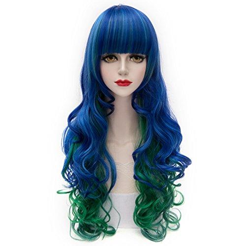 70cm Lolita Cosplay Damen Halloween Blau Gemischt Grün Haare (Halloween Haar)
