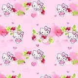 Fabulous Fabrics Cretonne Hello Kitty Kitsy 2 – rosa — Meterware ab 0,5m — Oeko-Tex Standard 100 — zum Nähen von Kinderartikeln, Taschen und Vorhängen